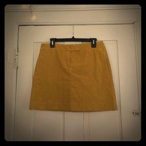 J. Crew mustard corduroy skirt with POCKETS